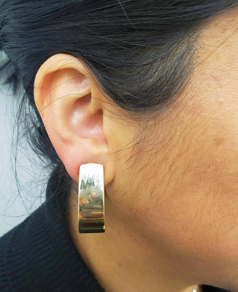 Vintage Yellow Gold J-Shaped Half Hoop Earrings For Sale 3