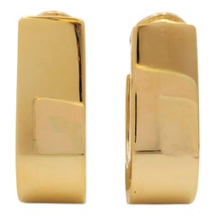Vintage Yellow Gold J-Shaped Half Hoop Earrings