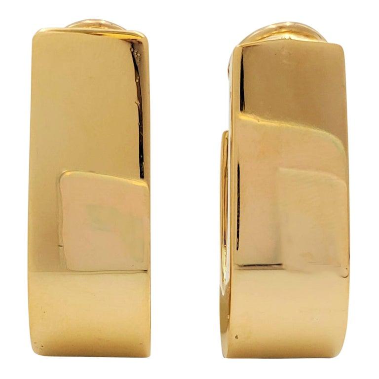Vintage Yellow Gold J-Shaped Half Hoop Earrings For Sale