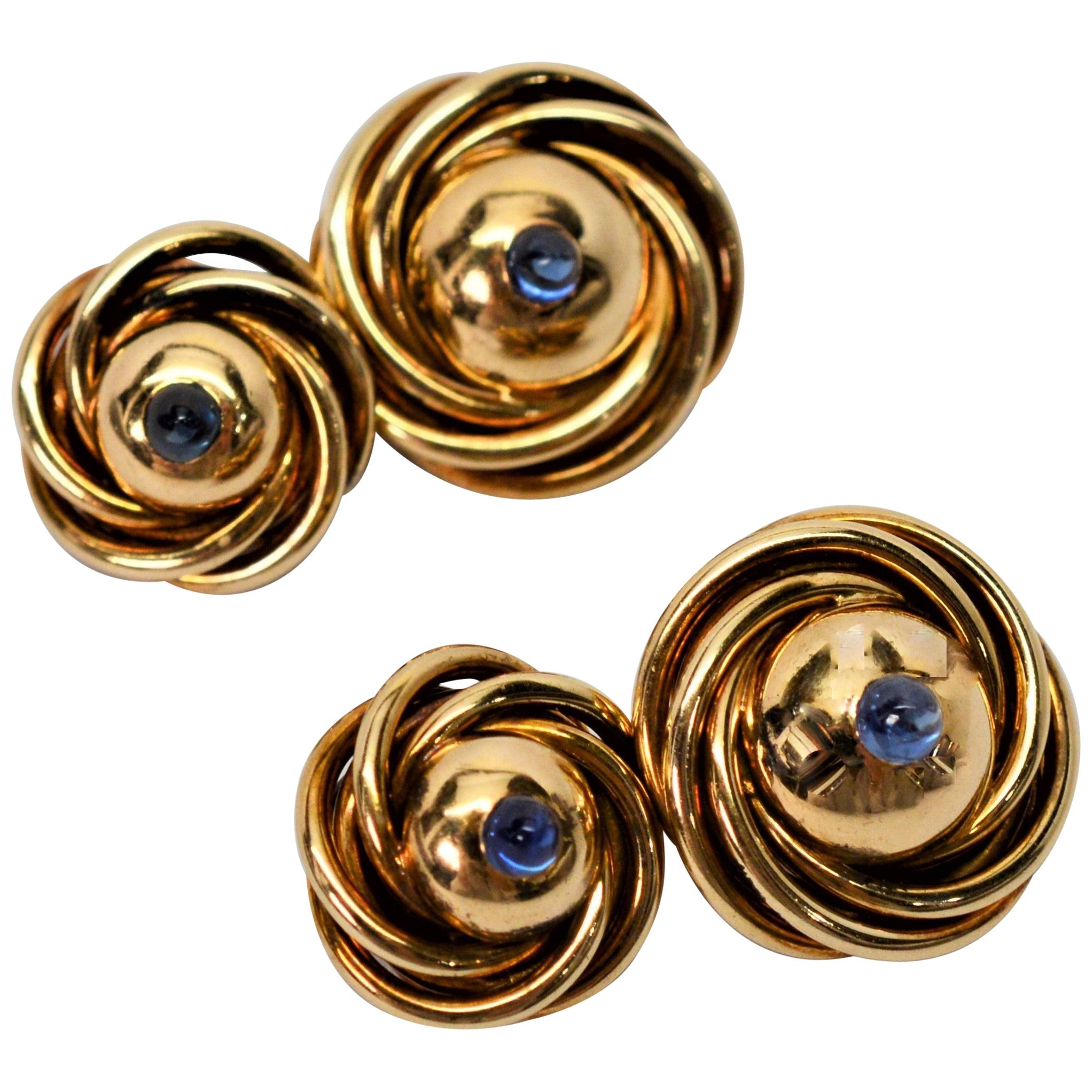Vintage Yellow Gold Knot Sapphire Cuff Links