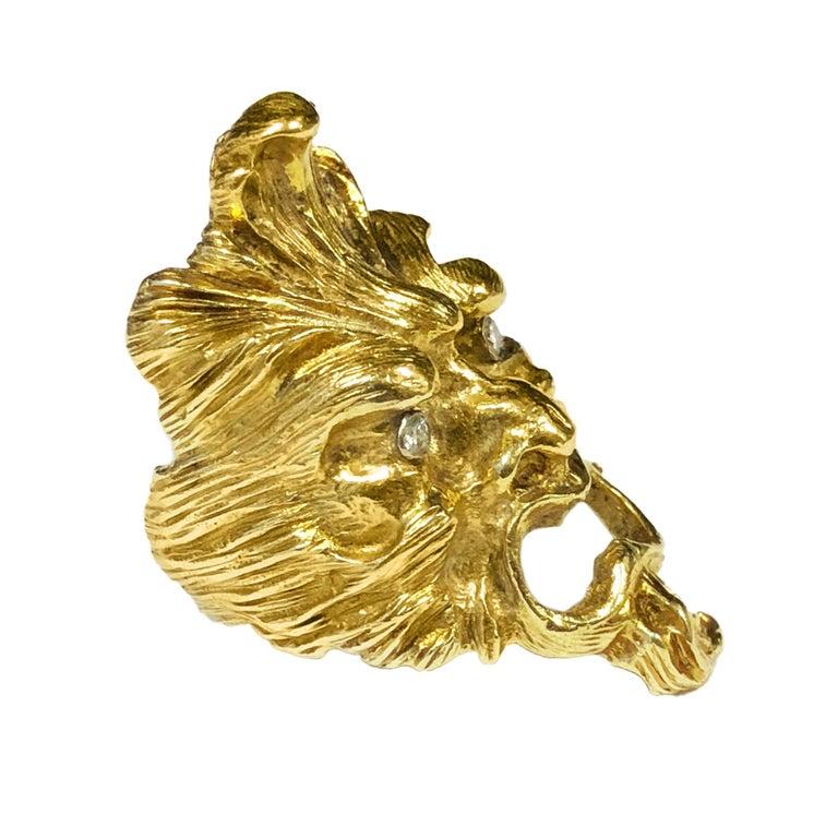 b41b589fa736e Vintage Yellow Gold Large Mythological Face Ring
