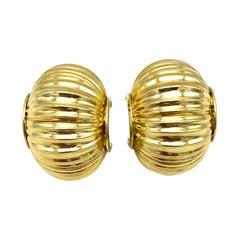 Vintage Yellow Gold Large & Wide Hoop Earrings