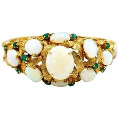 Vintage Yellow Gold Opal Emerald Bangle Bracelet