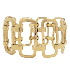 Vintage Yellow Gold Openwork Geometric Link Bracelet