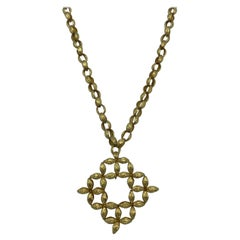 Vintage Yellow Gold Oval Link Chain Necklace w/ Pendant & Brooch