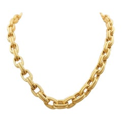Vintage Yellow Gold Oval Link Necklace