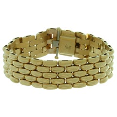 Vintage Yellow Gold Panthere Link Wide Bracelet