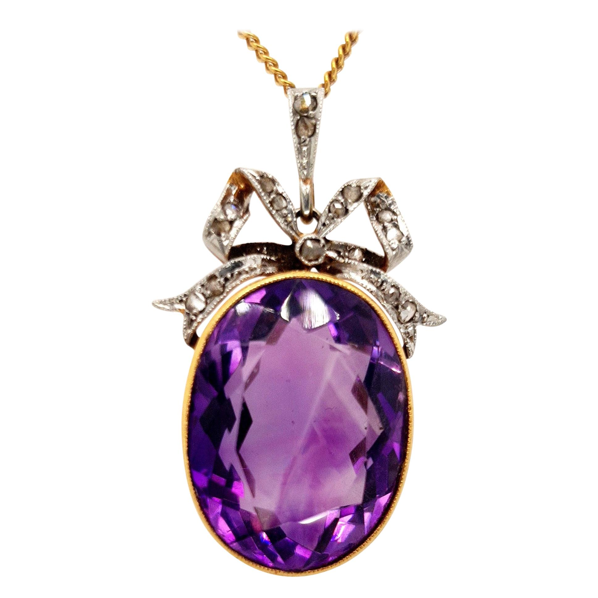 Vintage Yellow Gold Pendant Necklace with Amethyst and Rose Cut Diamonds