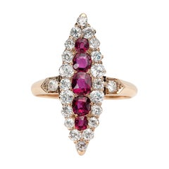 Vintage Yellow Gold Ruby with Diamonds Antique Navette Ring