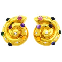 Vintage Yellow Gold Snail Earrings with Diamond and Gemstones 1970s Clip-On