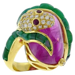 Vintage Yellow Gold Snake Ring with Diamond Ruby Emerald