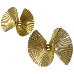 Vintage Yellow Gold Swirl Earrings