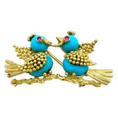 Vintage Yellow Gold Turquoise and Ruby Love Birds Brooch