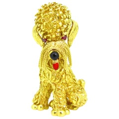 Vintage Yellow Gold Whiskers Tassel Poodle Brooch