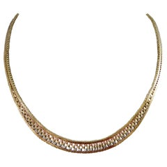 Vintage Yellow Gold, White Gold and Rose Gold Brick Link Necklace, 1979