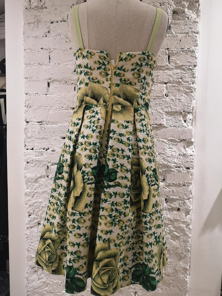 Vintage yellow green cotton dress For Sale 5