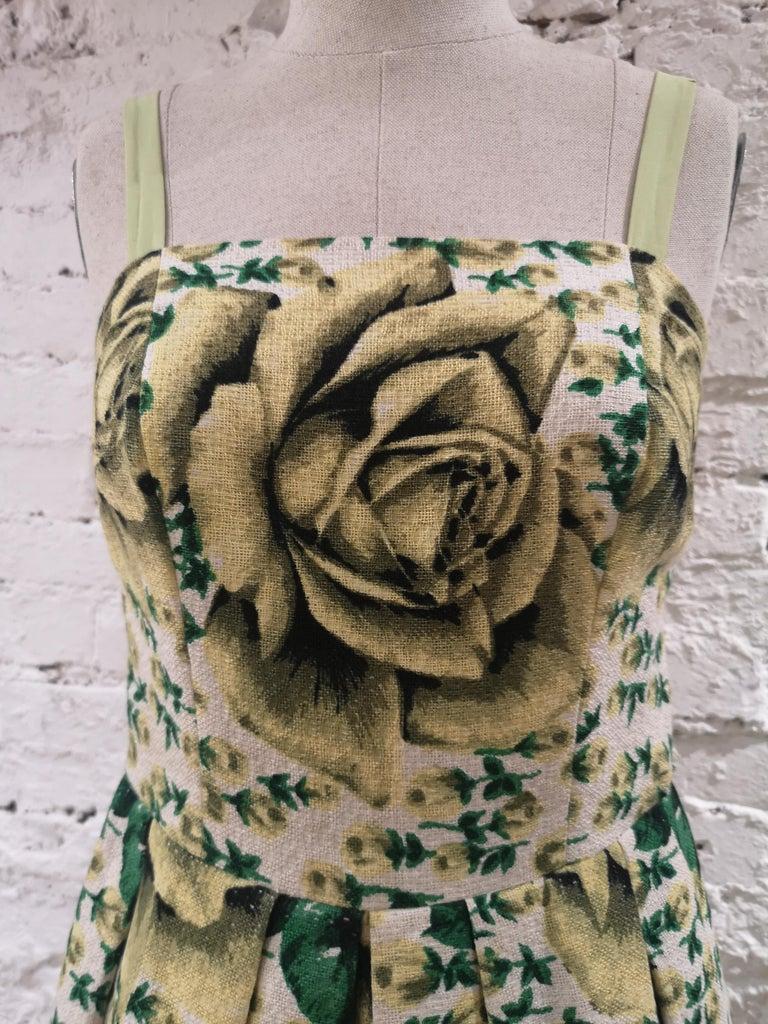Vintage yellow green cotton dress size 40 total lenght 98 cm