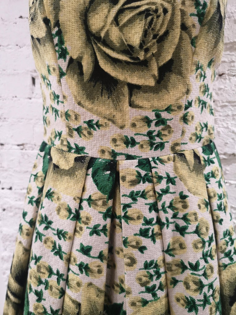 Brown Vintage yellow green cotton dress For Sale