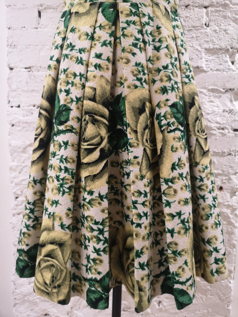 Vintage yellow green cotton dress In Excellent Condition For Sale In Capri, IT