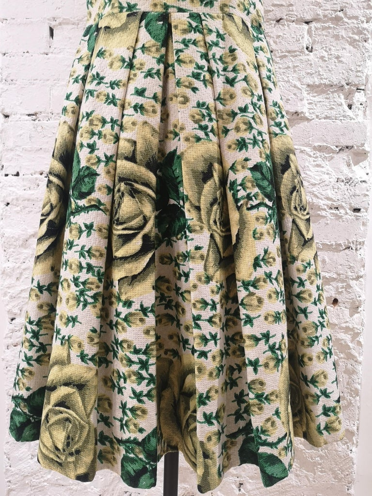 Women's Vintage yellow green cotton dress For Sale