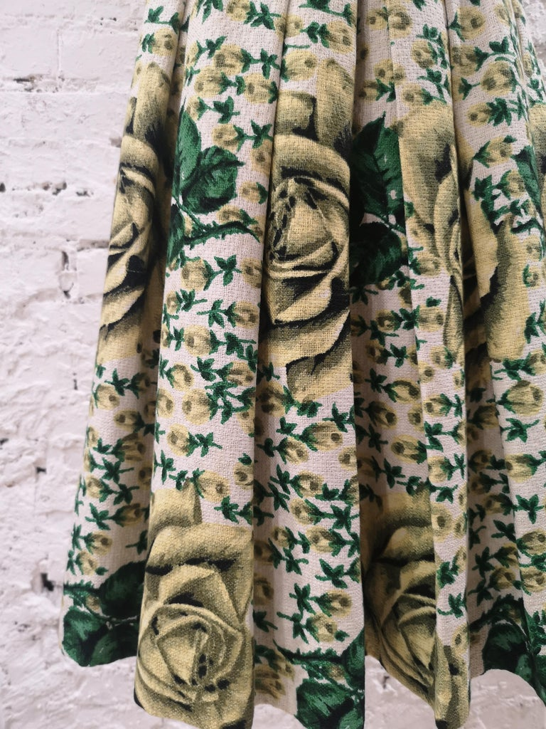 Vintage yellow green cotton dress For Sale 1