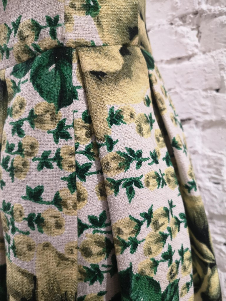 Vintage yellow green cotton dress For Sale 2
