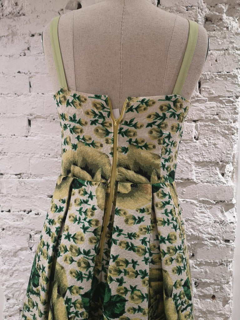 Vintage yellow green cotton dress For Sale 3