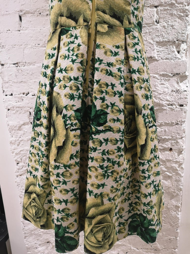 Vintage yellow green cotton dress For Sale 4