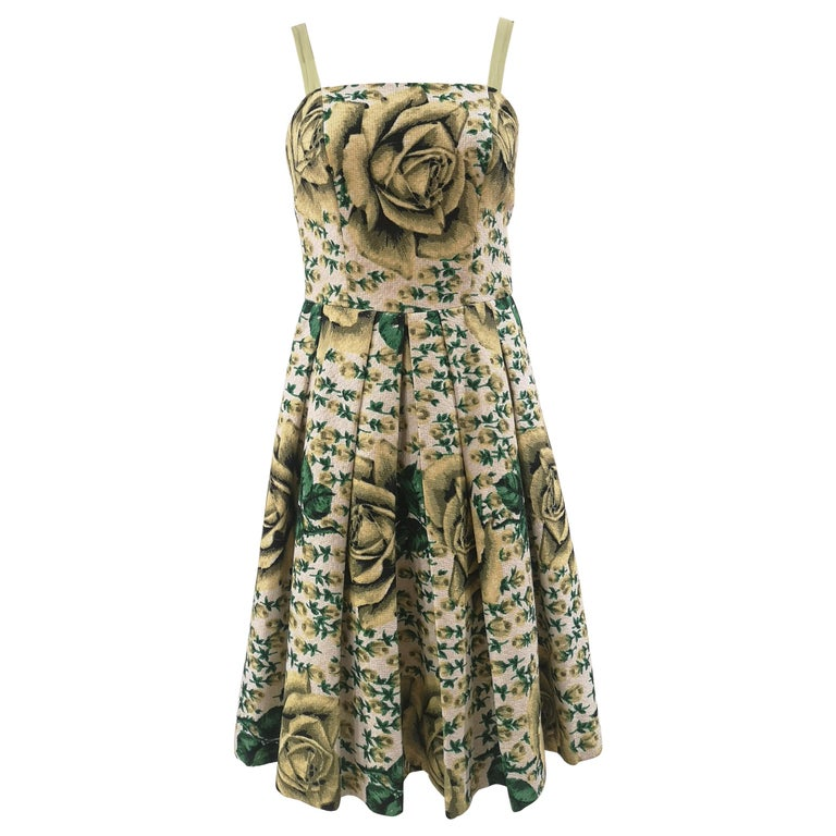 Vintage yellow green cotton dress For Sale