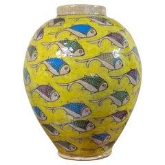 Vintage Yellow Hand Painted Ceramic Fish Vase