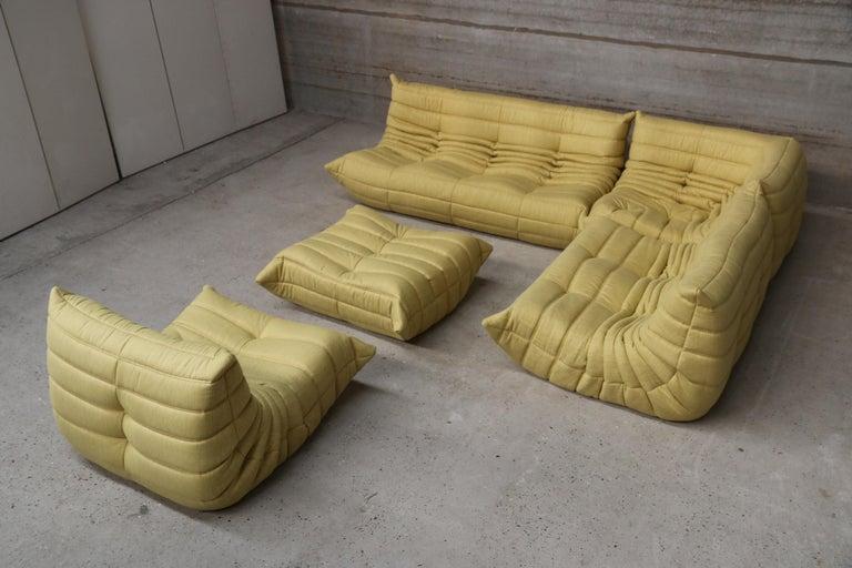 Vintage Yellow Ligne Roset Togo Sofa Set Designed By Michel Ducaroy 1998 For Sale At