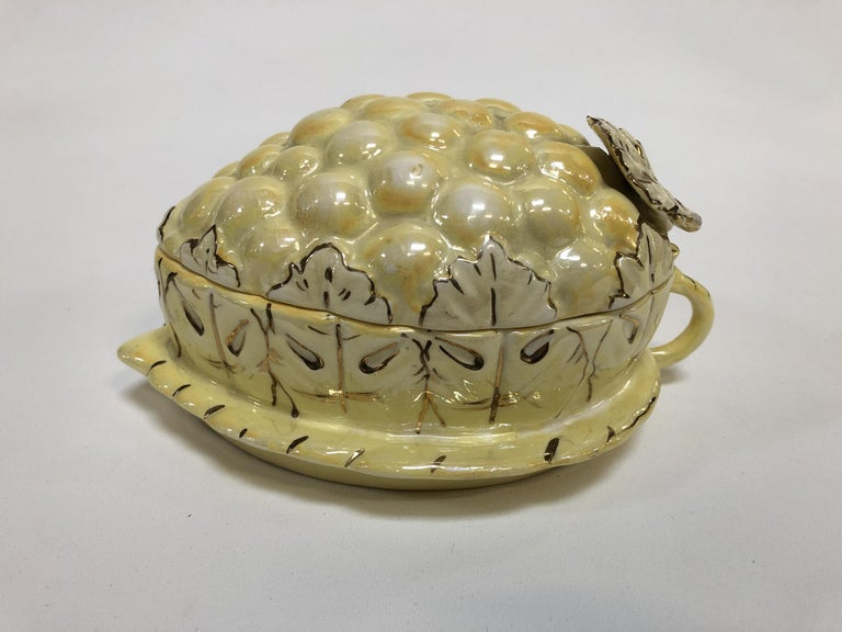American Vintage Yellow Lusterware Covered Serving Dish with Grapes by Sasha For Sale