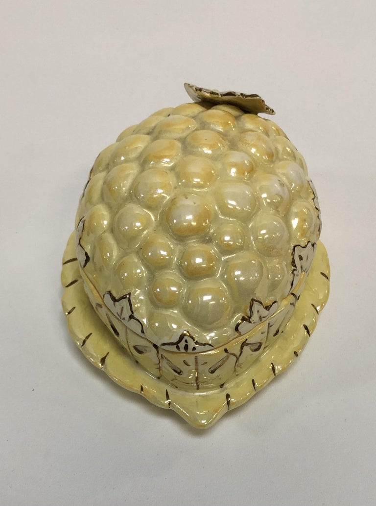 Vintage Yellow Lusterware Covered Serving Dish with Grapes by Sasha In Good Condition For Sale In Van Nuys, CA