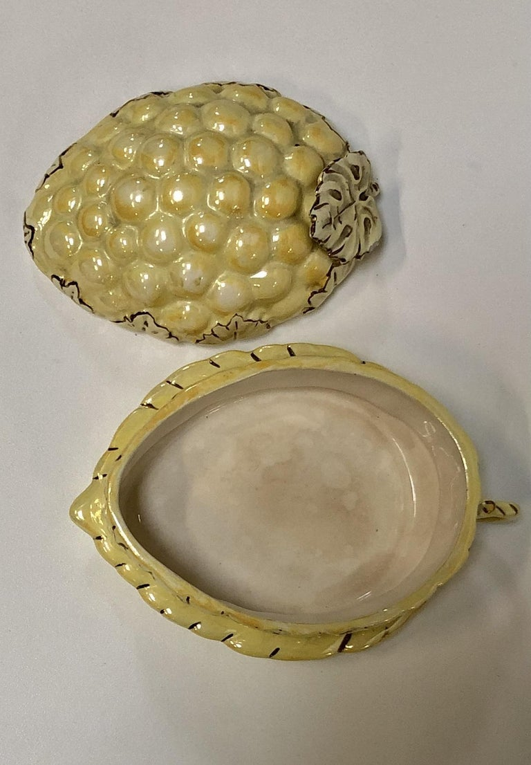 Mid-20th Century Vintage Yellow Lusterware Covered Serving Dish with Grapes by Sasha For Sale