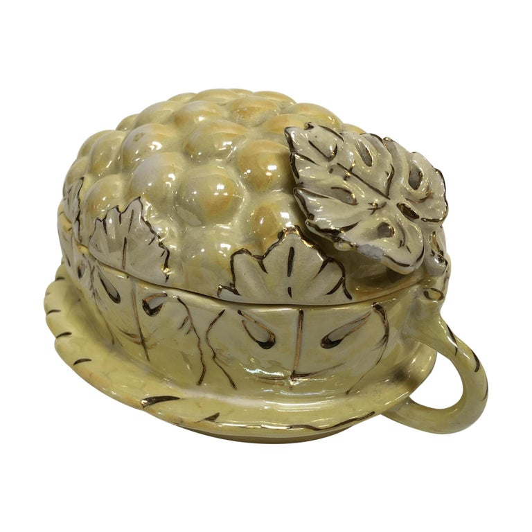 Vintage Yellow Lusterware Covered Serving Dish with Grapes by Sasha For Sale