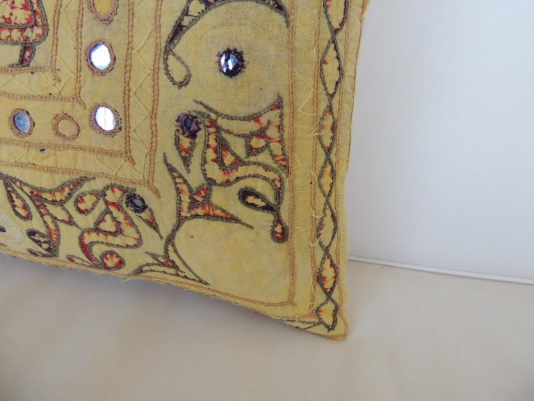 Hand-Crafted Vintage Yellow & Red Indian