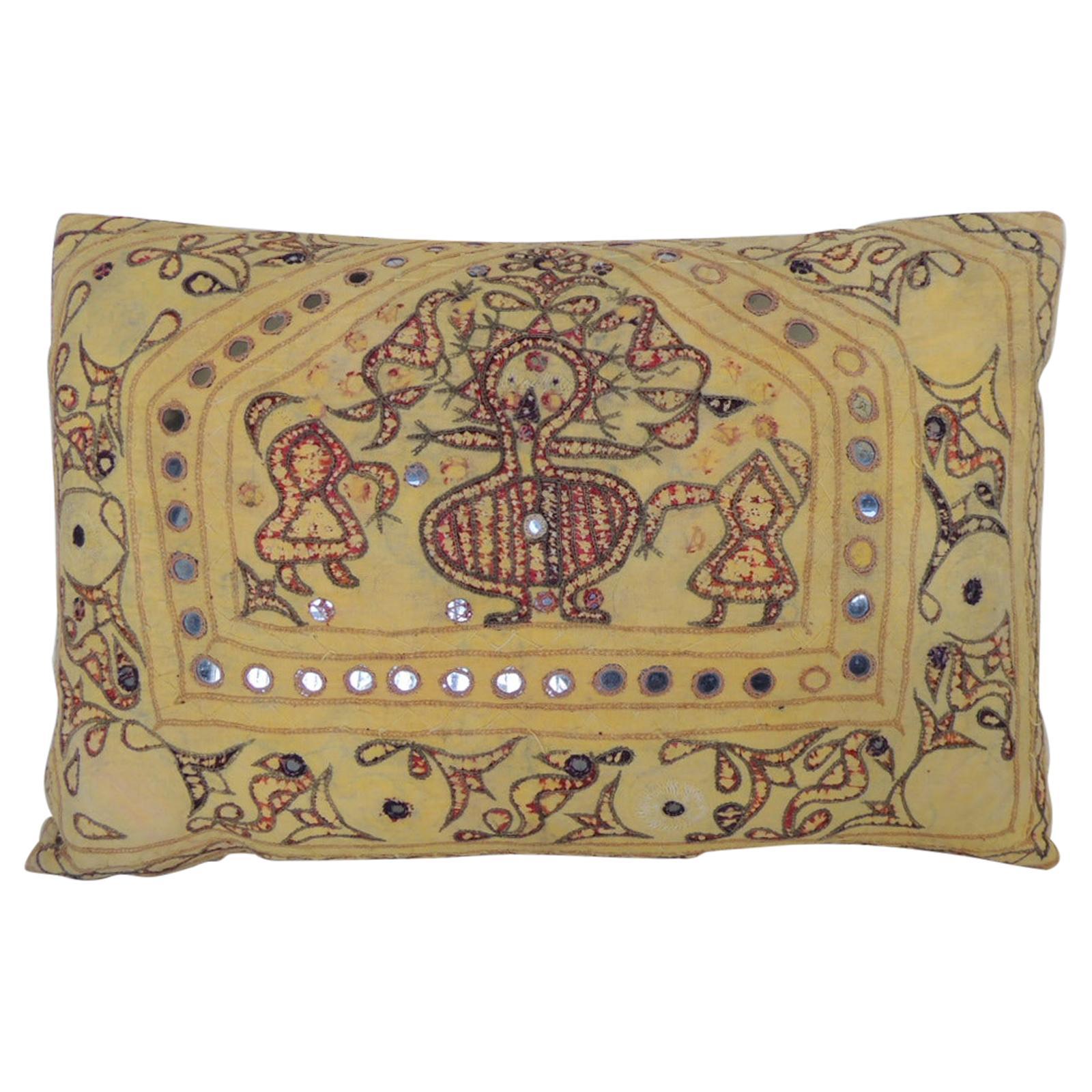 "Vintage Yellow & Red Indian ""Ganeshtapana"" Shrine Cloth Lumbar Decorative Pillow"
