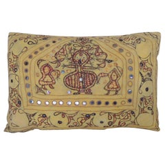 "Vintage Yellow & Red Indian ""Ganeshtapana"" Shrine Cloth Lumbar Decorative Pillow"
