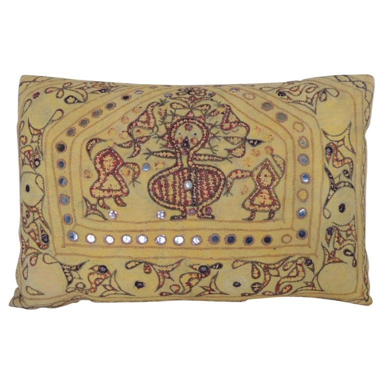 "Vintage Yellow & Red Indian ""Ganeshtapana"" Shrine Cloth Lumbar Decorative Pillow For Sale"