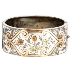 Vintage Yellow, Rose and Silver Ornate Bangle