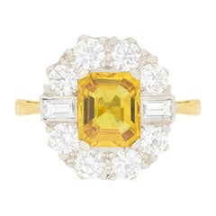 Vintage Yellow Sapphire and Diamond Cluster Ring, circa 1970s
