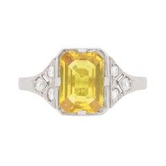 Vintage Yellow Sapphire and Diamond Ring, circa 1950s