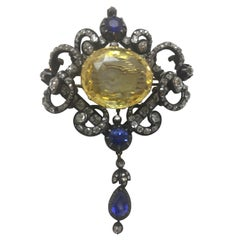Vintage Yellow Sapphire, Blue Sapphire and Diamond Brooch or Pendant