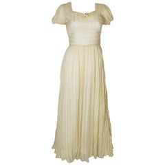 Vintage Yellow Silk Gown
