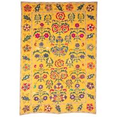 Vintage Yellow Suzani from Uzbekistan, Central Asia, 1960s-1970s