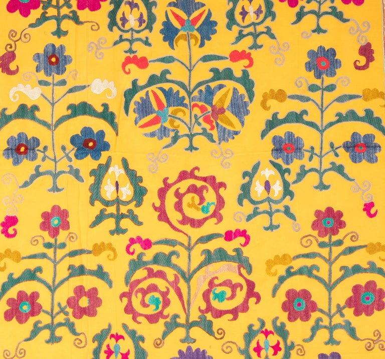 Embroidered Vintage Yellow Suzani from Uzbekistan, Central Asia, 1960s-1970s