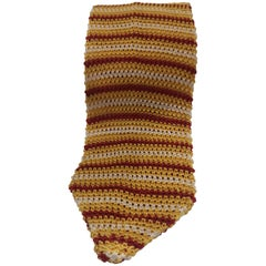 Vintage yellow white and red silk tie