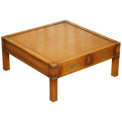 Vintage Yew Wood Military Campaign Coffee Table Double Sided Four Drawers