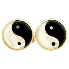 Vintage Yin Yang Mother of Pearl and Yellow Gold Cufflinks