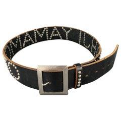 Vintage YOHJI YAMAMOTO Size 32 Black Studded Name Leather Belt
